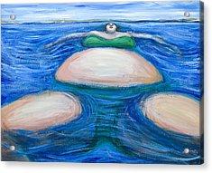 Floating Giant Fat Woman In Her Favorite Green Bikini Acrylic Print by Kazuya Akimoto