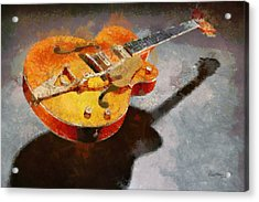 Floating Guitar Acrylic Print by Russ Harris