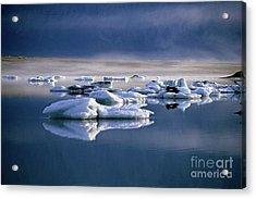 Floating Icebergs Reflected In The Quiet Waters Of Jokulsarlon Acrylic Print by Sami Sarkis