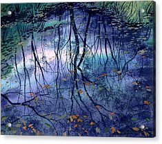 Acrylic Print featuring the painting Floating Leaves by Sergey Zhiboedov