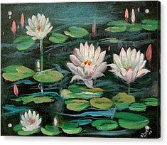 Floating Lillies Acrylic Print by Sai Shyamala Ramanand
