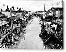 Floating Market In Thailand Acrylic Print by Sarayut Mathavetchathum