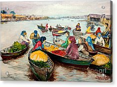 Acrylic Print featuring the painting Floating Market by Jason Sentuf