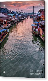 Floating Market Sunset Acrylic Print by Adrian Evans