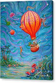 Acrylic Print featuring the painting Floating Under The Sea by Dee Davis