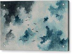 Flock Of Birds Against A Dark Sky  Acrylic Print by Michael Vigliotti