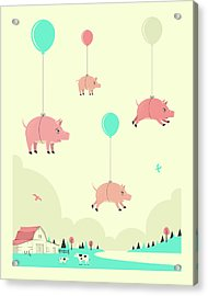 Flock Of Pigs Acrylic Print