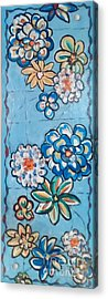 Floor Cloth Blue Flowers Acrylic Print