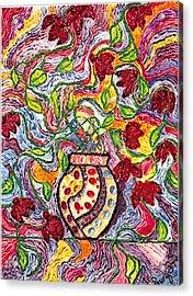 Floowers In A Jeweled Vase Acrylic Print by Brenda Adams