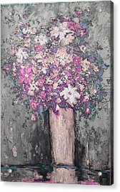 Floral Abstract - Reverse - Modern Impressionist Palette Knife Work Acrylic Print