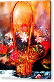 Acrylic Print featuring the painting Floral Basket by Raymond Doward