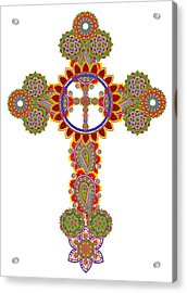 Floral Celtic Cross  Acrylic Print by Aleksandr Volkov
