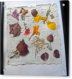 Floral Collage On Mullberry Handmade Paper Acrylic Print by Mircea Veleanu