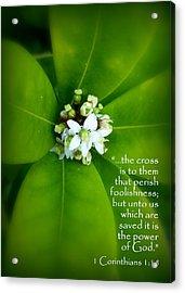 Floral Cross Scripture Acrylic Print