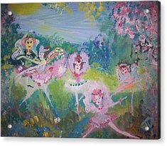 Acrylic Print featuring the painting Floral Fairies by Judith Desrosiers