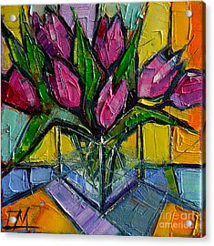 Floral Miniature - Abstract 0615 - Pink Tulips Acrylic Print by Mona Edulesco
