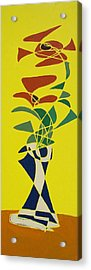 Floral On Yellow Acrylic Print