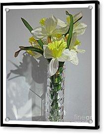 Floral Still Life In Crystal Vase Acrylic Print