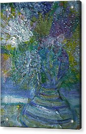 Floral With Cracked Vase Acrylic Print by Anne-Elizabeth Whiteway