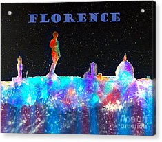 Florence Italy Skyline - Blue Banner Acrylic Print by Bill Holkham