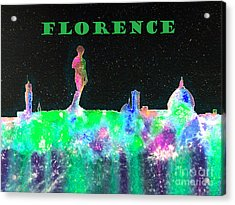 Florence Italy Skyline - Green Banner Acrylic Print by Bill Holkham