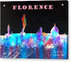 Florence Italy Skyline - Mauve Banner Acrylic Print by Bill Holkham