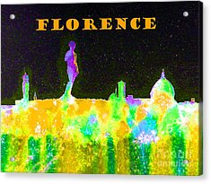 Florence Italy Skyline - Orange Banner Acrylic Print by Bill Holkham