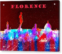 Florence Italy Skyline - Red Banner Acrylic Print by Bill Holkham