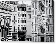 Acrylic Print featuring the photograph Florence Italy View Bw by Joan Carroll