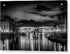Florence Ponte Vecchio At Sunset Monochrome Acrylic Print