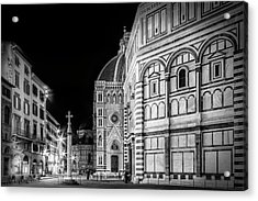 Florence Saint Mary Of The Flowers And Baptistery In Monochrome Acrylic Print