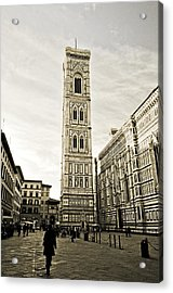 Florence Square With Giotto Acrylic Print by Emilio Lovisa