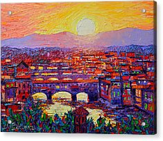 Florence Sunset Over Ponte Vecchio Abstract Impressionist Knife Oil Painting By Ana Maria Edulescu Acrylic Print
