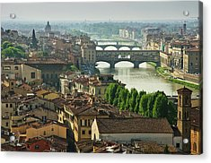 Florence. View Of Ponte Vecchio Over River Arno. Acrylic Print by Norberto Cuenca