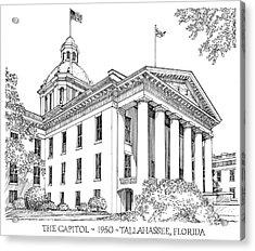 Florida Capitol 1950 Acrylic Print by Audrey Peaty