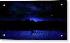 Florida Everglades Lunar Eclipse Acrylic Print by Mark Andrew Thomas