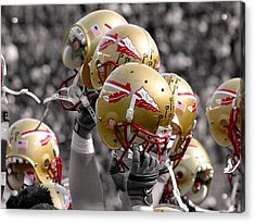 Florida State Football Helmets Acrylic Print by Mike Olivella