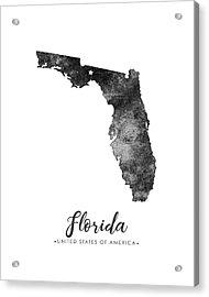 Florida State Map Art - Grunge Silhouette Acrylic Print
