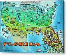 Florida Usa Cartoon Map Acrylic Print by Kevin Middleton