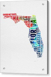 Florida Watercolor Word Cloud Mao Acrylic Print