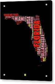 Florida Word Cloud Map 1 Acrylic Print