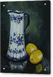 Flow Blue And Lemons  Acrylic Print