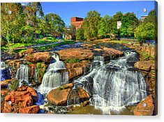 Flow On Reedy River Falls Park Art Greenville Sc Acrylic Print by Reid Callaway
