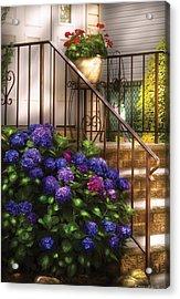 Flower - Hydrangea - Hydrangea And Geraniums  Acrylic Print by Mike Savad