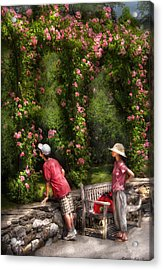 Flower - Rose - Smelling The Roses Acrylic Print by Mike Savad