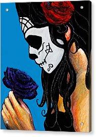 Flower And Skull Acrylic Print