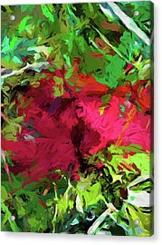 Flower Christmas Red Green Pink Acrylic Print