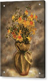 Flower - Daffodils In A Burlap Vase Acrylic Print by Mike Savad