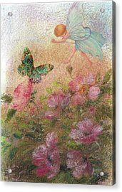 Acrylic Print featuring the painting Flower Fairy Butterfly Roses by Judith Cheng