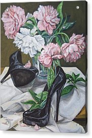 Acrylic Print featuring the painting Flower Fetish by Laura Aceto